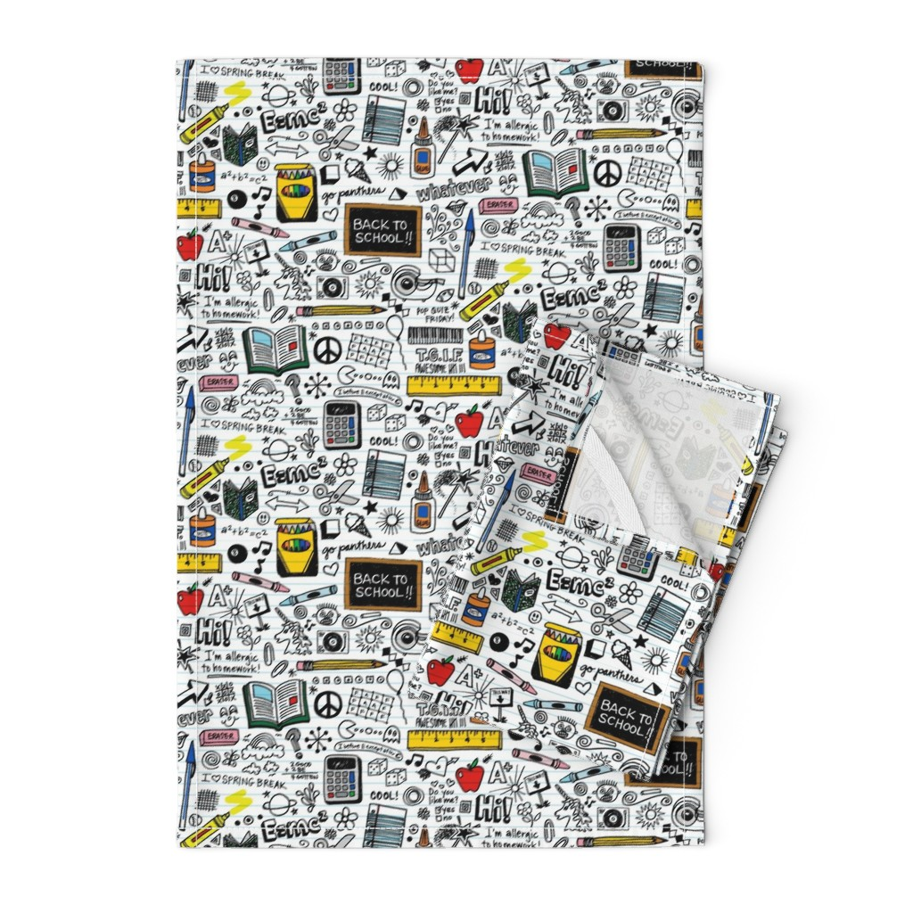 Orpington Tea Towels featuring Doodled School Supplies || doodles graffiti children math science 80s pen pencil drawings notebook paper kids by pennycandy