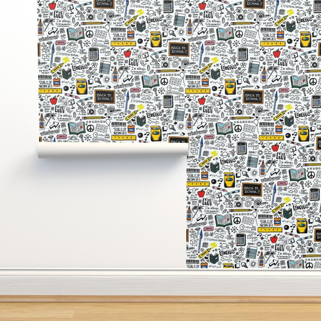 Isobar Durable Wallpaper featuring Doodled School Supplies || doodles graffiti children math science 80s pen pencil drawings notebook paper kids by pennycandy