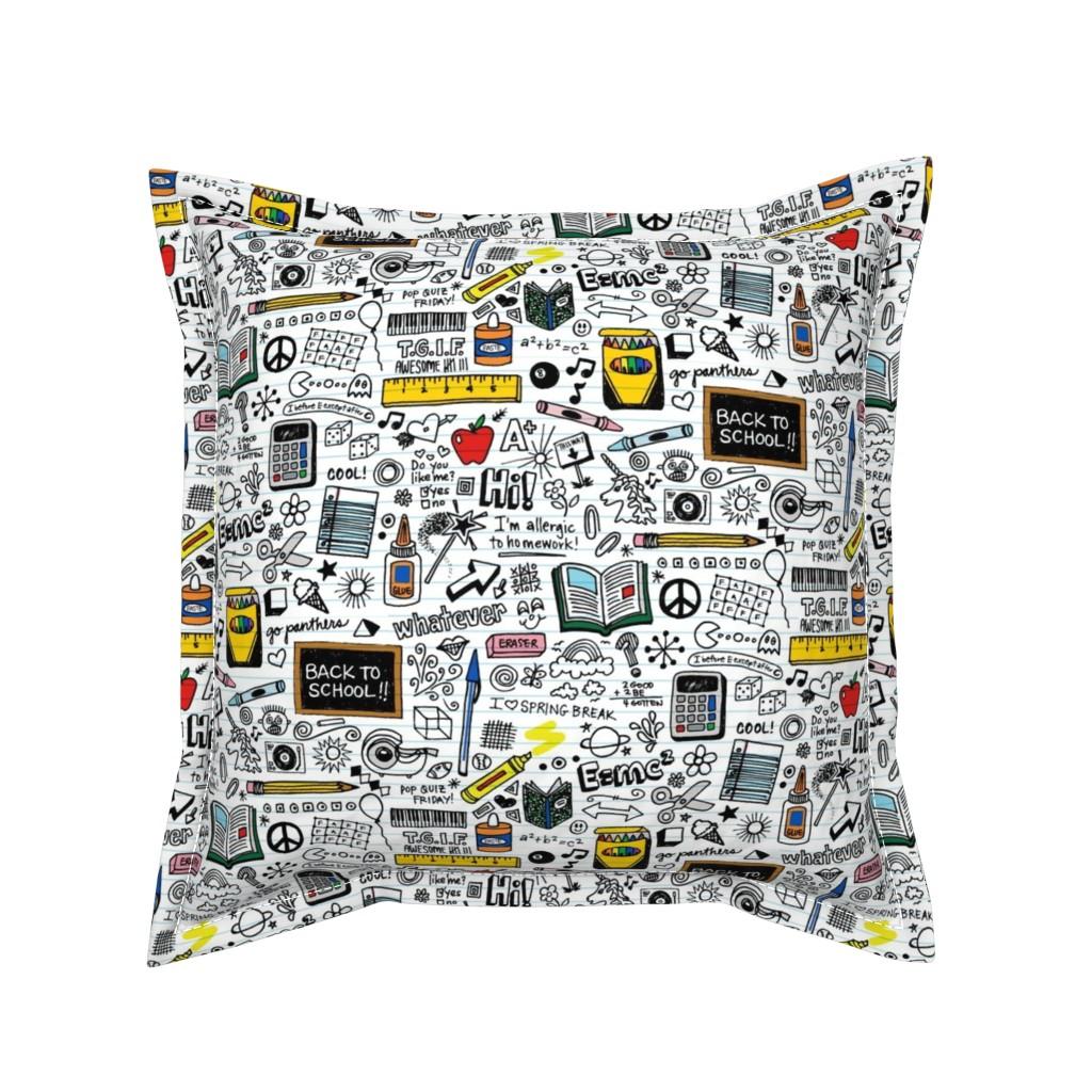 Serama Throw Pillow featuring Doodled School Supplies || doodles graffiti children math science 80s pen pencil drawings notebook paper kids by pennycandy