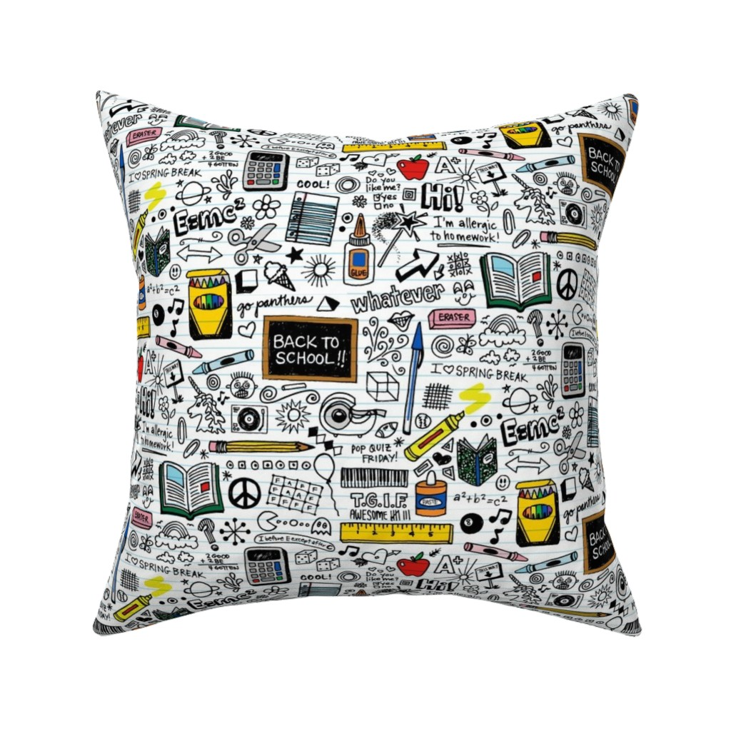 Catalan Throw Pillow featuring Doodled School Supplies || doodles graffiti children math science 80s pen pencil drawings notebook paper kids by pennycandy