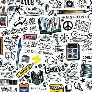 Doodled School Supplies || doodles graffiti children math science 80s pen pencil drawings notebook paper kids