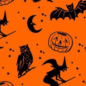 Bats and Jacks ~ Black on Orange