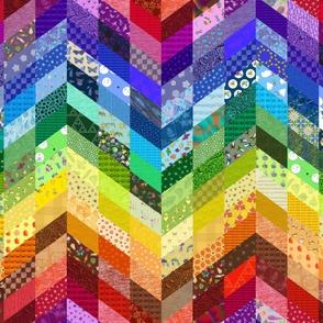 rainbow chevron cheater quilt