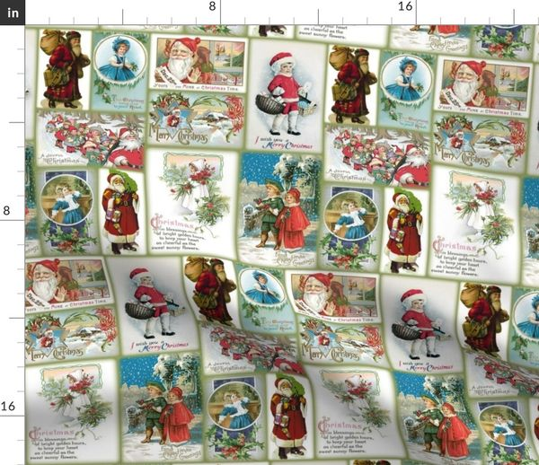 Vintage Christmas Cards.Colorful Fabrics Digitally Printed By Spoonflower Vintage Christmas Cards