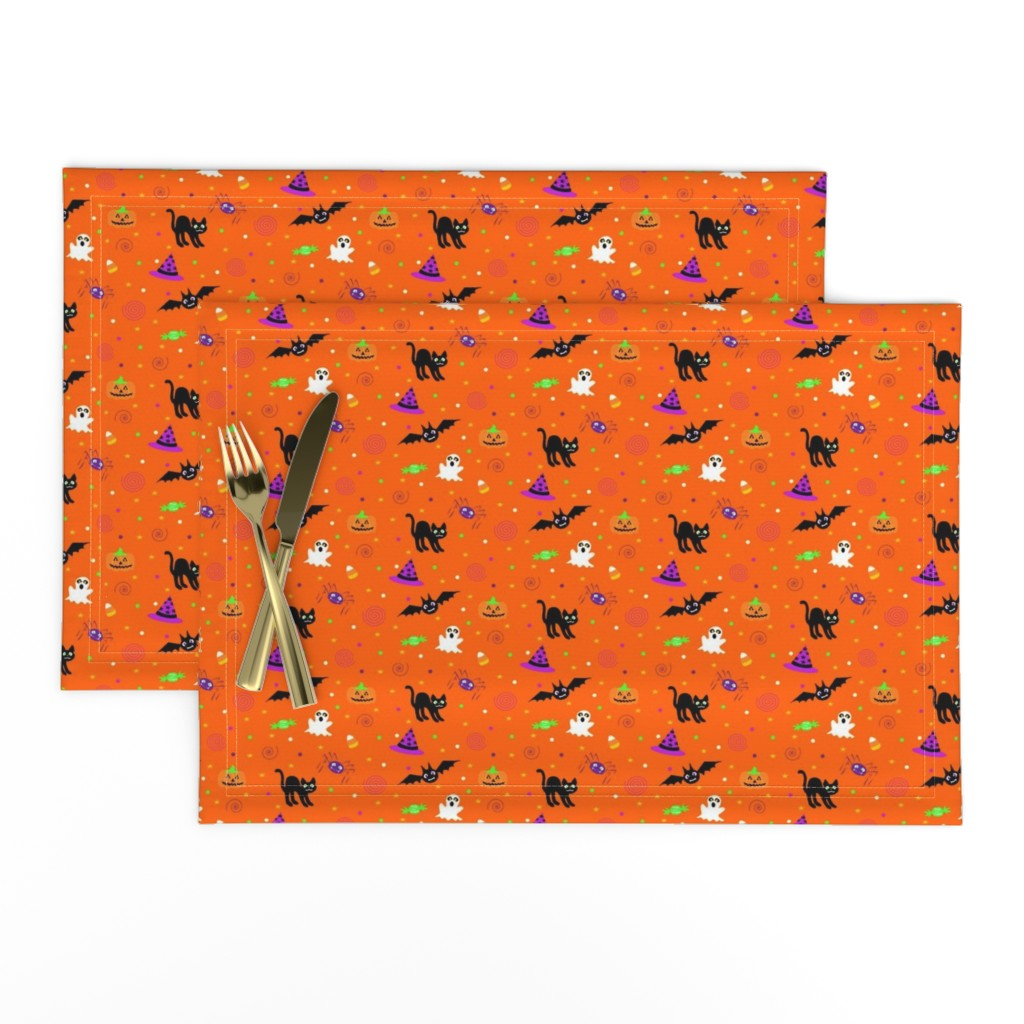Lamona Cloth Placemats featuring halloween_ditsy_print by mejo