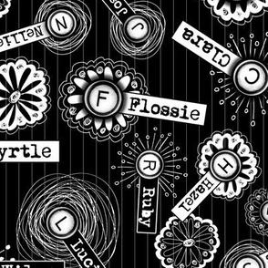 Old Fashioned Names Alphabet - Keys & Type