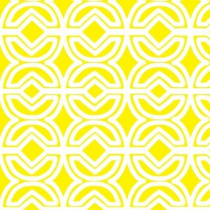 Lemon Yellow Abstract Circle and Diamond