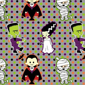 Classic Monster Movie Kawaii Halloween Print