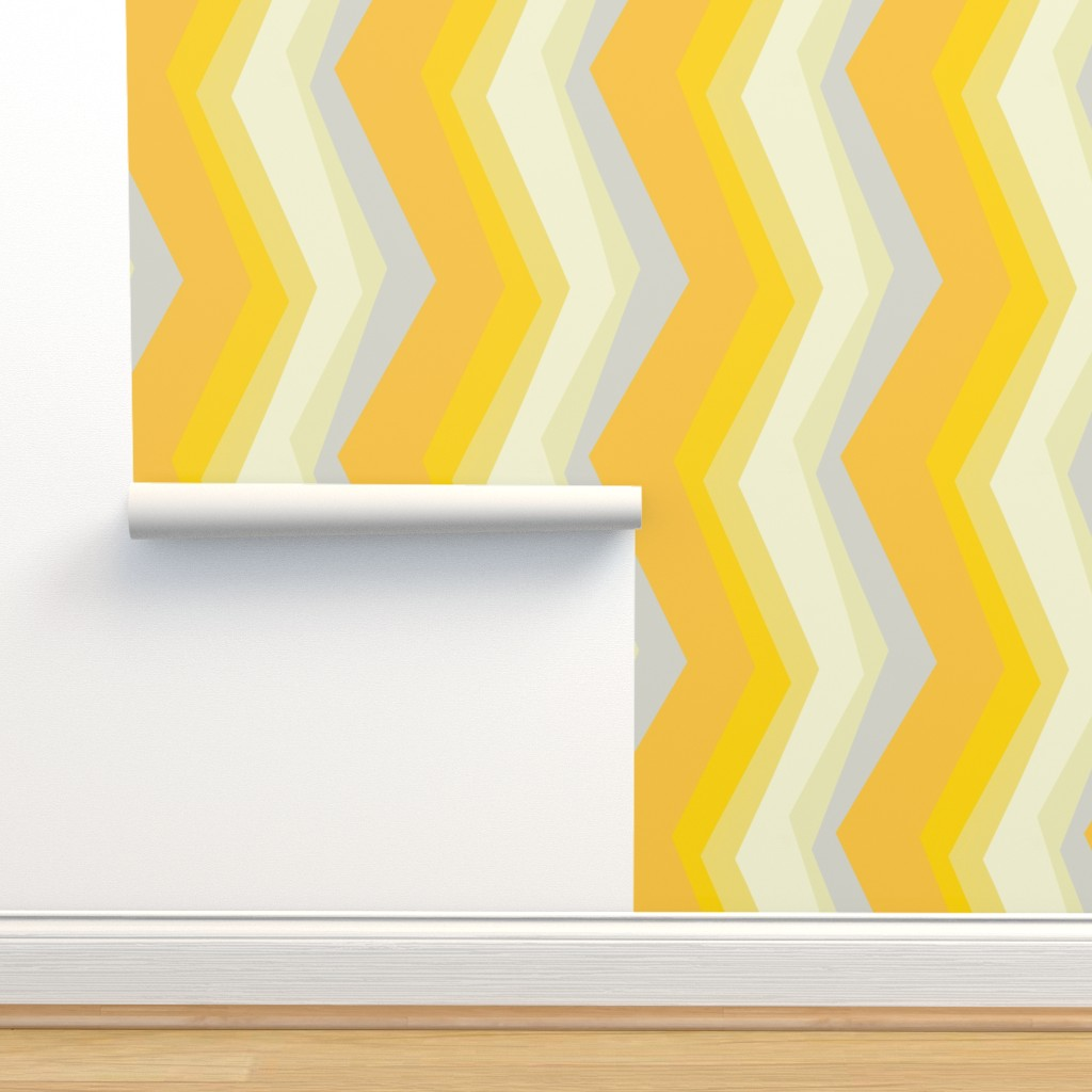 Isobar Durable Wallpaper featuring mod autumn zigzag by wren_leyland