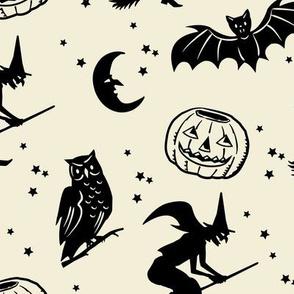 Bats and Jacks ~ Black on Cream