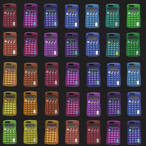 rainbow calculators on black