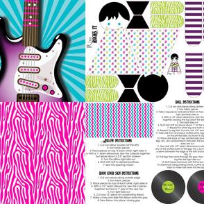 Girls Rock Electric Guitar Pillow & Doll & Do Not Disturb Sign Sewing Kit