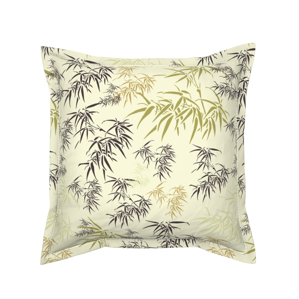 Serama Throw Pillow featuring Bamboo Leaves by candyjoyce
