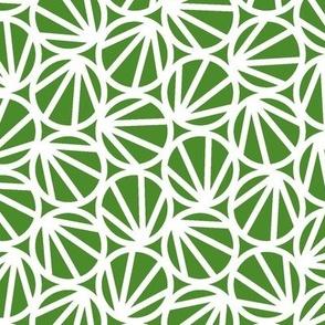 Mari - Geometric Circles - Kelly Green, White Line - Medium Scale