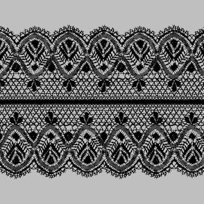Guipure lace - black and gray
