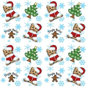 Yorkie Jingle Bells white and Blue