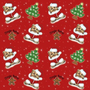 Yorkie Jingle Bells red