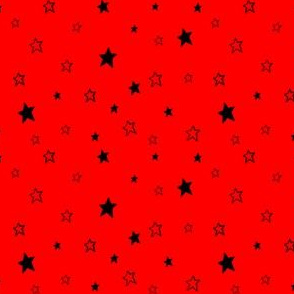 Charcoal Black Stars on Red