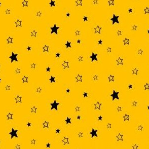 Tiny Black Stars on Golden Yellow