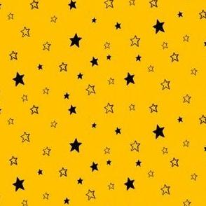 Tiny Black Stars on Golden Yellow