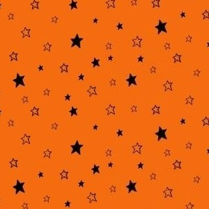 Black Stars on Bright Pumpkin Orange