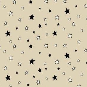 Black & White Stars on Cappuccino Cream (Tan)