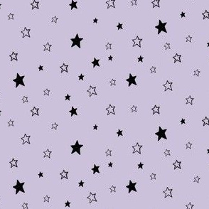 Tiny Black Stars on Lavender Purple