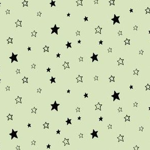 Tiny Black Stars on Green, Mint Chocolate Chip