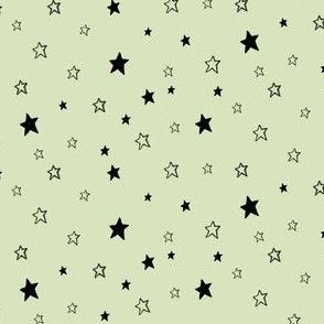 Tiny Black Stars on Green, Mint Chocolate Chip