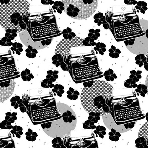 Black Flower Typewriters