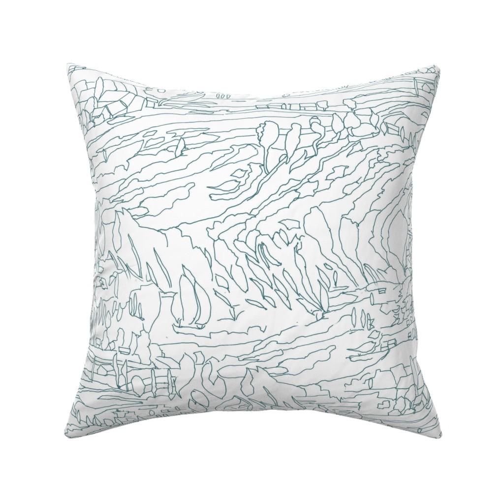 Catalan Throw Pillow featuring Aqua Teal Landscape by dorothyfaganartist