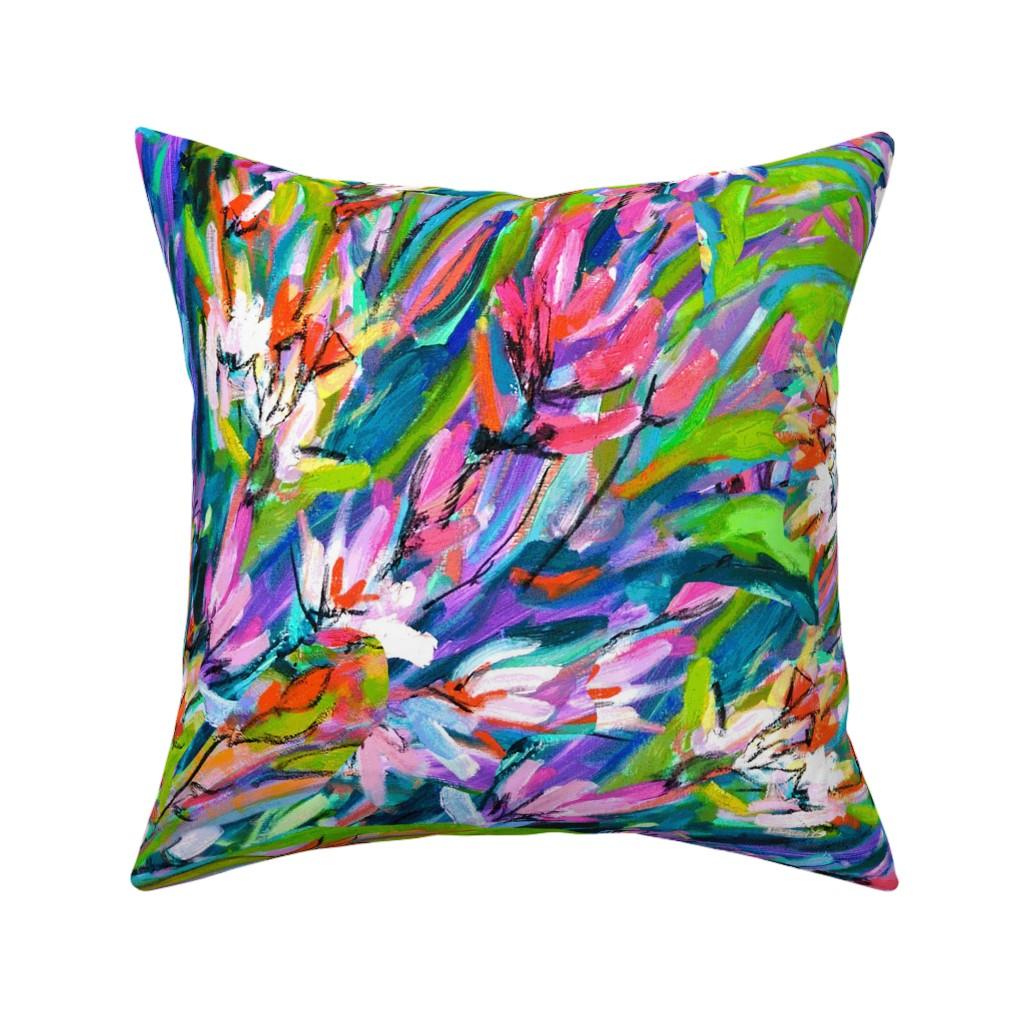Catalan Throw Pillow featuring Orange Lavender Blue Floral Stripe by dorothyfaganartist