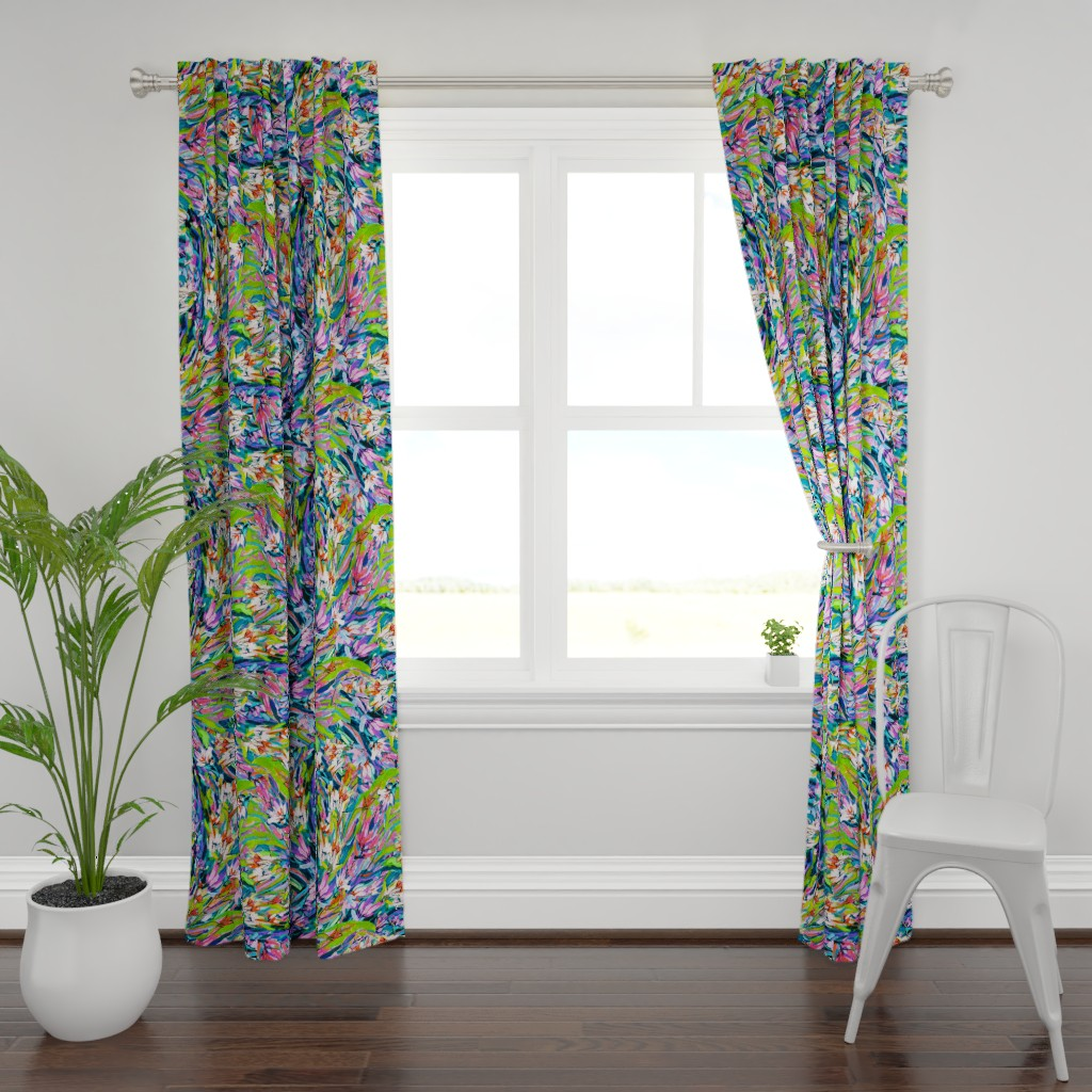 Plymouth Curtain Panel featuring Orange Lavender Blue Floral Stripe by dorothyfaganartist
