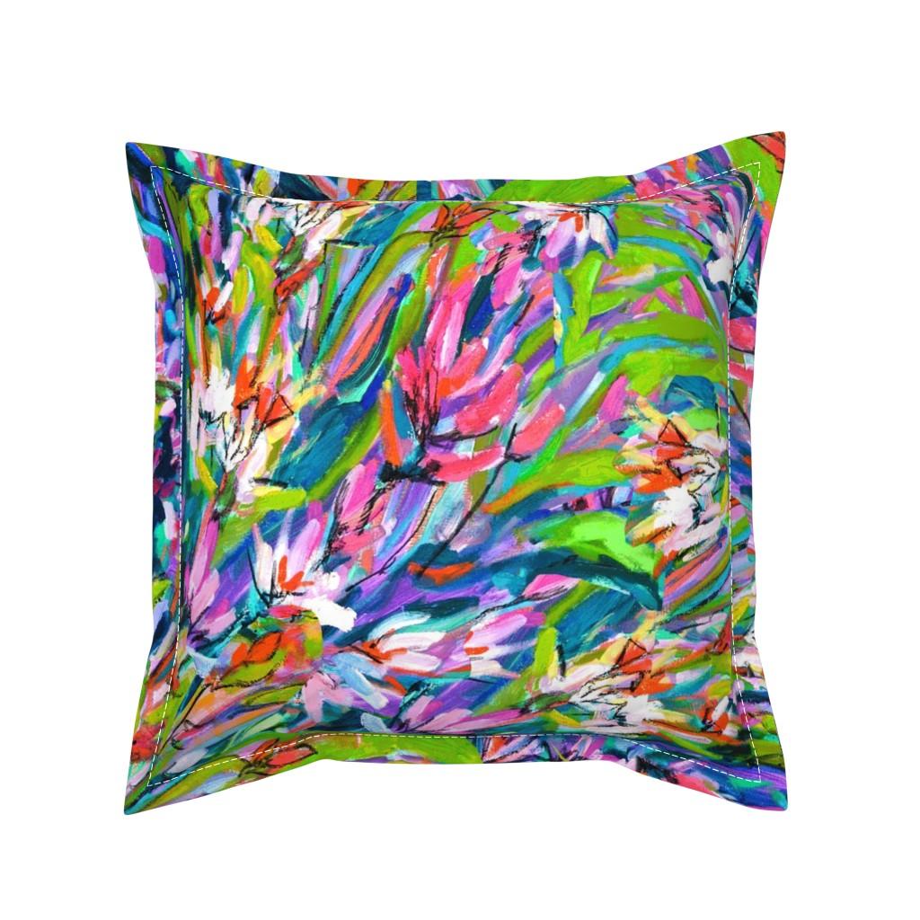 Serama Throw Pillow featuring Orange Lavender Blue Floral Stripe by dorothyfaganartist