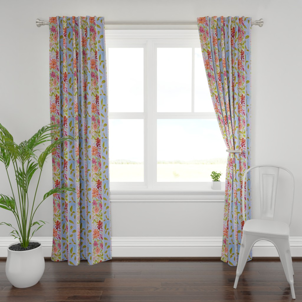 Plymouth Curtain Panel featuring Wildflowers Lavender Blue Stripe by dorothyfaganartist