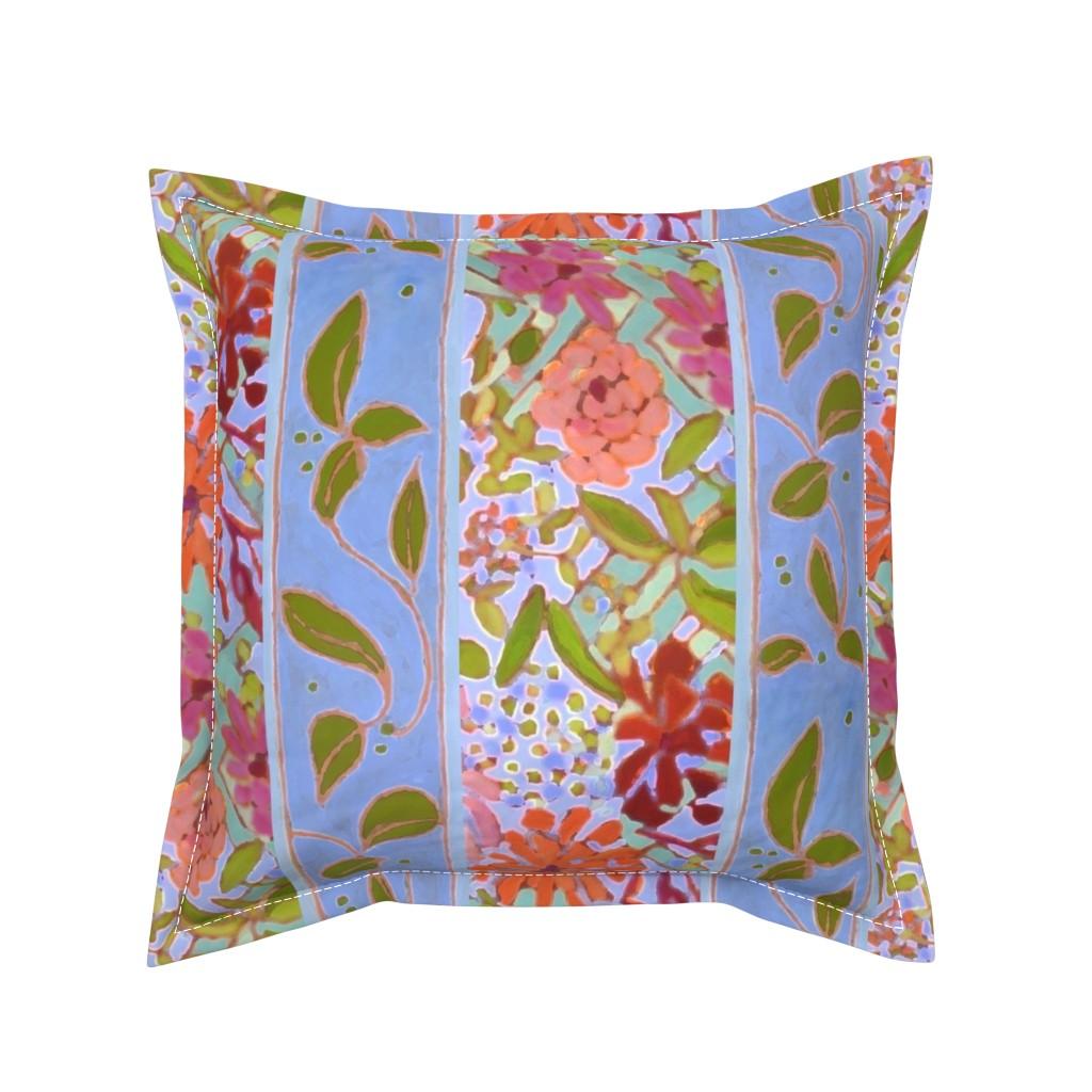 Serama Throw Pillow featuring Wildflowers Lavender Blue Stripe by dorothyfaganartist