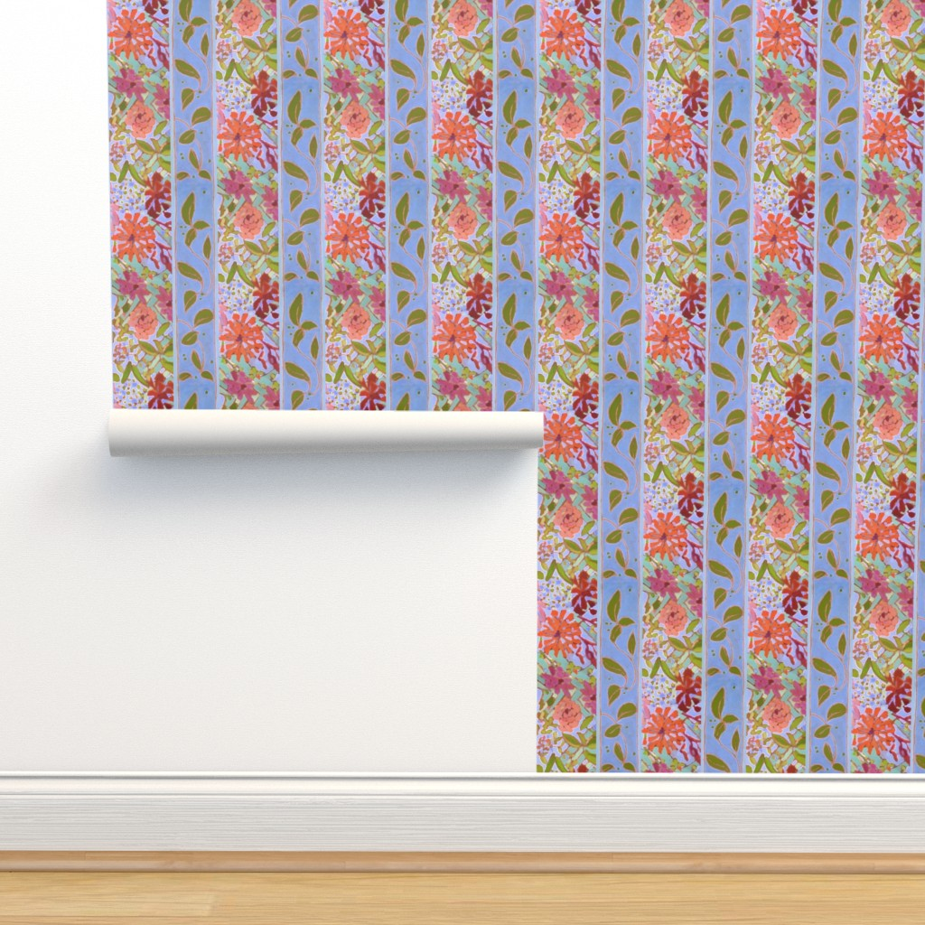 Isobar Durable Wallpaper featuring Wildflowers Lavender Blue Stripe by dorothyfaganartist