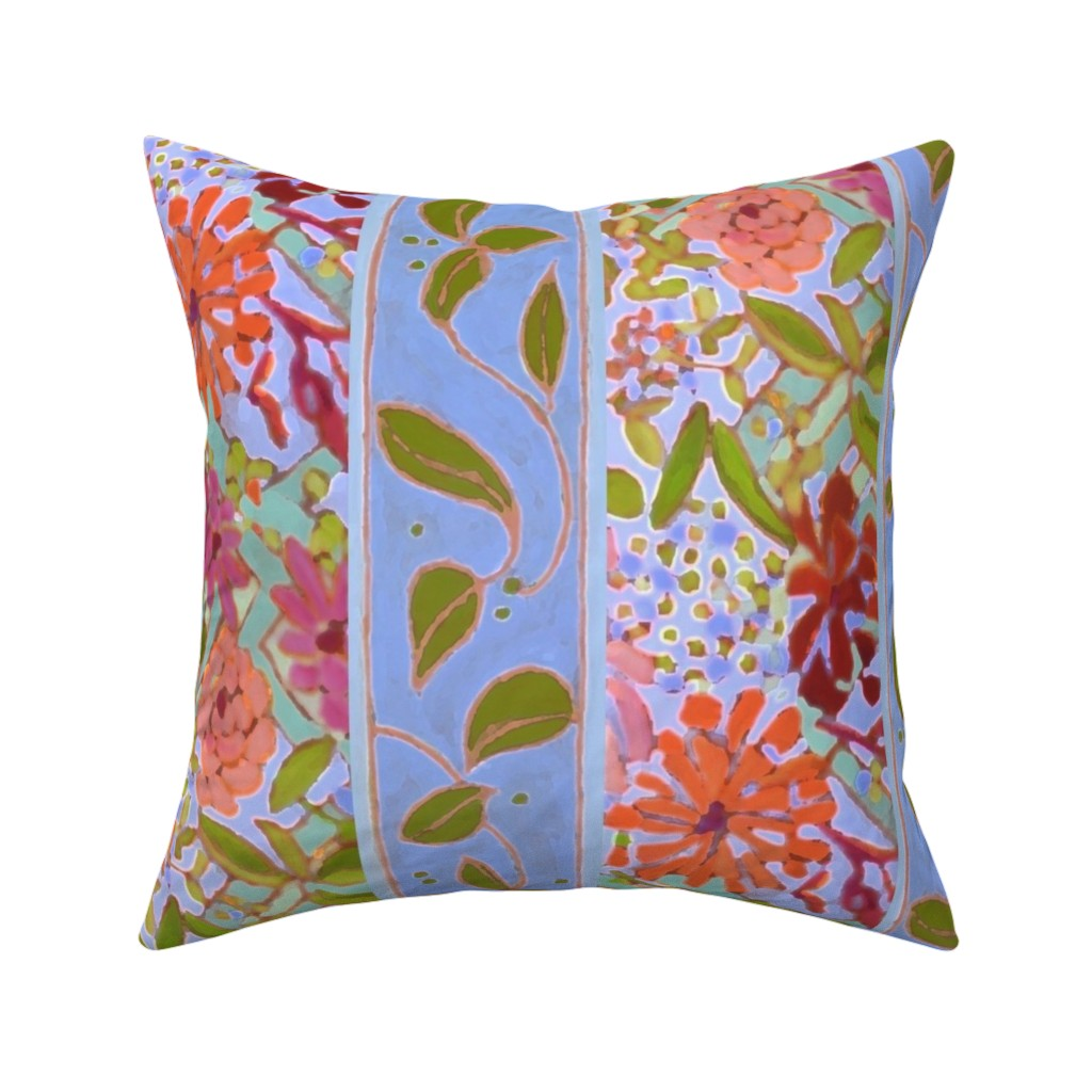 Catalan Throw Pillow featuring Wildflowers Lavender Blue Stripe by dorothyfaganartist