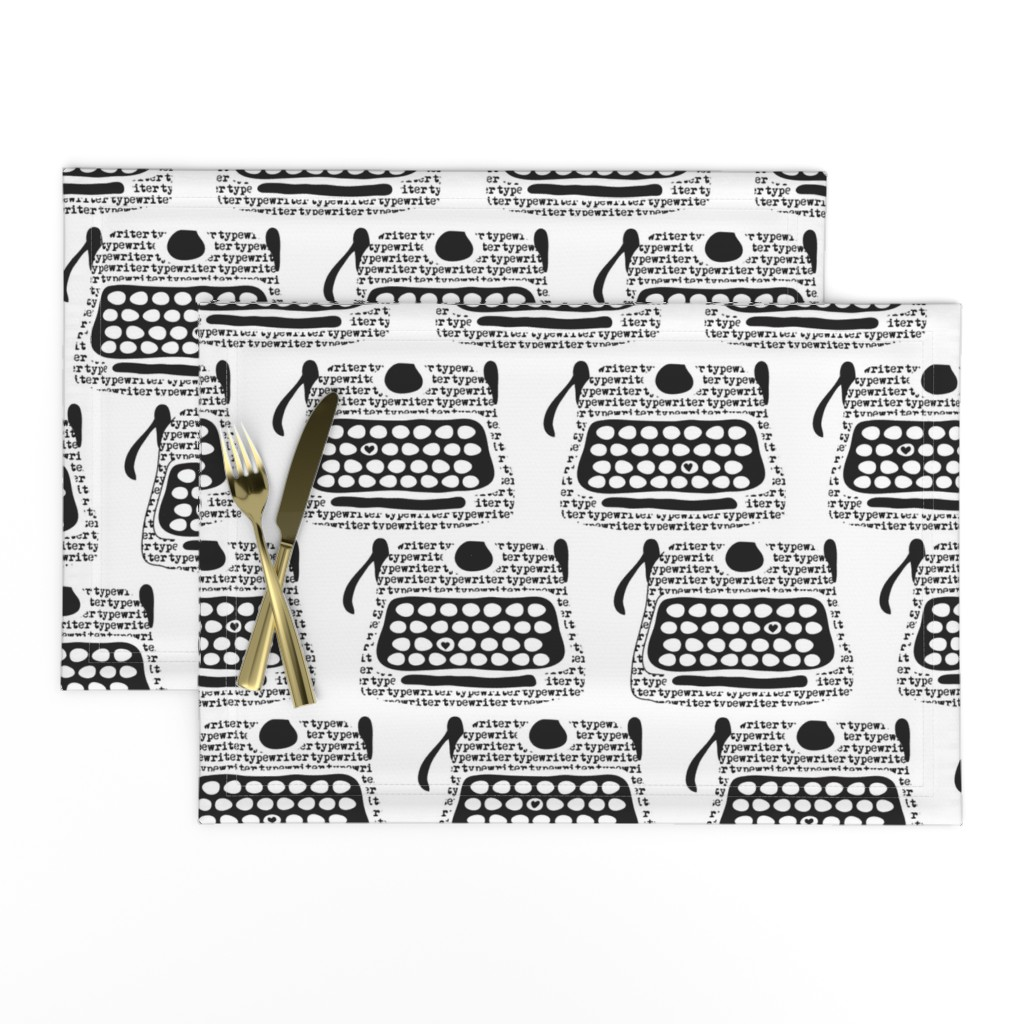 Lamona Cloth Placemats featuring Clickity Clack (I heart typewritten words) by vo_aka_virginiao