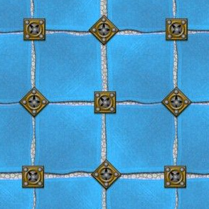 leather armor lady of the lake - brass, steel, blue squares