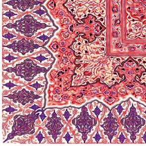 persian knot tea towel red