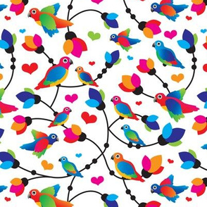 Retro colorful parrot bird pattern