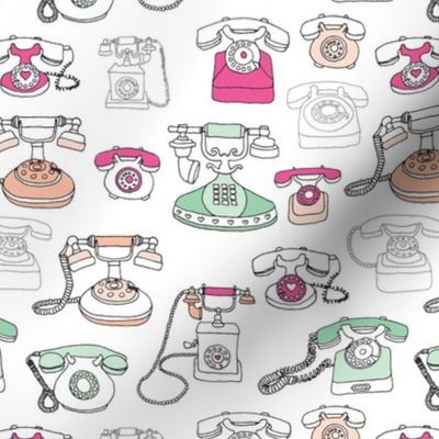 Vintage Telephone Who S Calling Communic Spoonflower