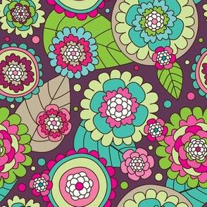 Retro flower blossom purple pattern