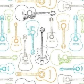 Rock music instrument guitar pattern blue green boys