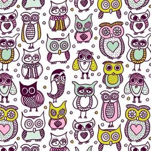 Cute vintage owl illustration kids pattern