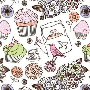 Vintage flower cupcake bird high tea pattern