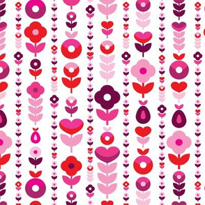 Retro red pink flower blossom pattern