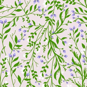 Vintage Floral Vines in Emerald Green Lavender Blossom