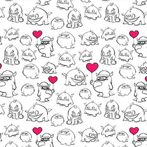 Cute Monsters with pink balloon accents